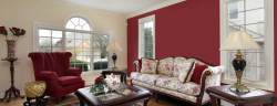 Living room in suburban home with red and cream colored walls