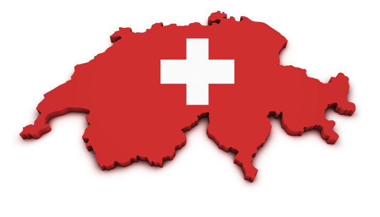 Shape 3d of Swiss map with flag isolated on white background.